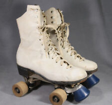 Vintage CHICAGO SKATE CO White Ladies Special Roller Skates Wood Wheels  ANB