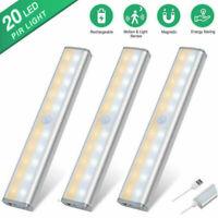 Rechargeable 20 LED Wireless Under Cabinet Light USB Motion Sensor Closet Light