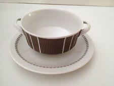 Arzberg 2075 Heinrich Löffelhardt Double Handle Soup Bowl& Saucer Set Retro 3371