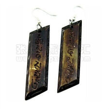 Pair Tibetan Carved Om Mani Padme Hum Sloping Pane Yak Bone Amulet Earrings