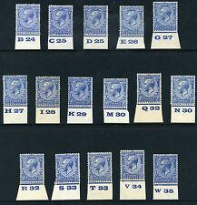 1924 KGV Block Cypher 2½d Control Singles S.G. 422