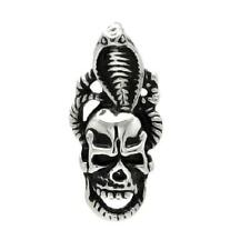 Stainless Steel Skull Head w/ Cobra Pendant,  Free Ball Chain