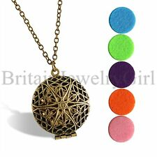 Aromatherapy Locket Pendant Essential Oil Diffuser Necklace with 5 Washable Pads
