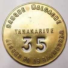 MADAGASCAR : TRES RARE JETON BANQUE MALGACHE D'ESCOMPTE & DE CREDIT - TANANARIVE