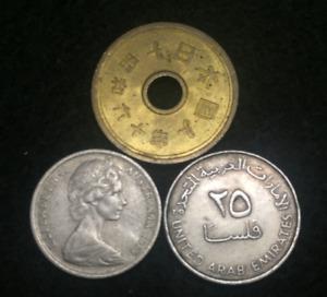 World Coin Lot - Australia, Japan, United Arab Emirates Plus A Bonus UNC Bill