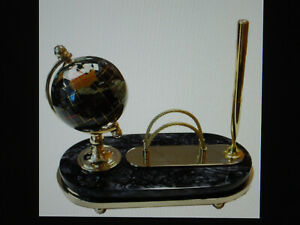 "Rare New Alexander Kalifano 4"" Gemstone Globe Pen Set Black Opalite Stone Base"