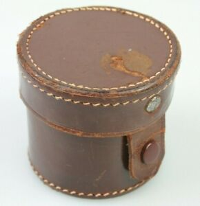 Leitz Leica SMALL LEATHER LENS CASE Made in Germany Holds 35mm 50mm Elmar etc.