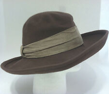 Vintage Frank Olive womens hat brown suede band New WT wool fashion 958edbe5b700