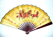 New Asian Traditional Silk Bamboo Horses Ma Dao Chen Gong LARGE WALL FOLDING FAN