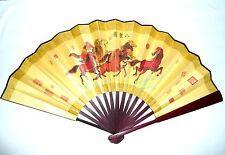 New Asian Traditional Silk Bamboo Horses Ma Dao Chen Gong LARGE WALL FOLDING FAN