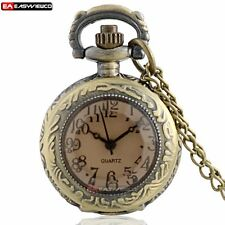 Antique Glass Necklace Pendant Bronze Quartz Pocket Watch Gift Vinatge Steampunk