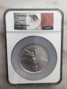 2018 Mo Mexico 5oz Silver Onza Libertad NGC MS70Early Releases Flag Label