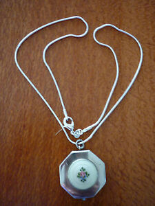 Art Deco Mini Sterling Silver & Guilloche Octagonal Rouge Compact/Pendant/Chain