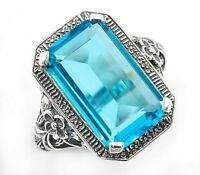 10CT Blue Topaz 925  Sterling Silver Victorian Style Ring Jewelry Sz 8, PR39