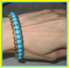 Sleeping Beauty Turquoise  Bangle Bracelet 10cts ! 14K YG Platinum S Silver 925