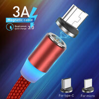 1M 2M 360° Magnetic LED Type C Micro USB Fast Charger Charging Cable For Android