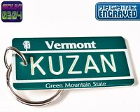 Personalized Vermont State License Plate Keychain Tag - Any Name Souvenir USA