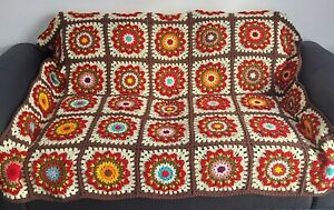 Handmade Mandala Square Crochet Blanket Throw 145 cm x 170 cm