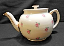 Sadler Tea Pot Cream w/ Pink Roses  w/ Gold Trim  1937  Made in England