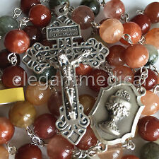 XL10MM fukurokuju crystal bead 5 DECADE Rosary Italy Cross catholic Necklace BOX