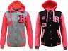 Kids Unisex Girls Boys R Baseball Jacket Varsity with Neon Pink Sleeves