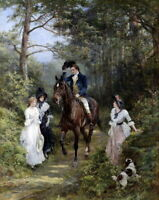 Hd Print Meet in the forest Oil painting Art Giclee Printed on canvas P211