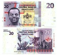 SWAZILAND eSwatini Tyvek 20 Emalangeni (2014) P-37b AA Prefix UNC Banknote