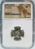 Marcus Aurelius Roman Empire NGC XF AD 161-180 AR Denarius Silver Ancient Chair