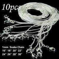 10PCS wholesale solid silver plated 1MM snake chain necklace 16inch-30inch
