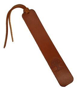 Leather Bookmark TREE Design Smooth Tan Vegetable Tanned Leather Handmade UK