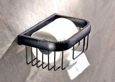 Toilet Paper Holder Wall Mount Tissue Basket Black Oil Rubbed Brass Finish