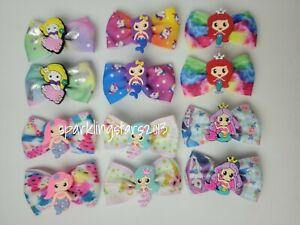12PCS Fashion Baby Girls Hairclips Mermaid Princess HairBows
