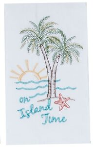 On Island Time Palm Trees at Sunset  Embroidered Flour Sack Kitchen Dish Towel