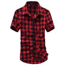 2018 Fashion Mens Summer Casual Dress Shirt Mens Plaid Short Sleeve Shirts Tops
