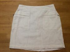 WILLI SMITH White Linen Straight Pencil SKIRT Lined Zipper Pockets size 6