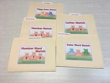 5 File Folder Set - Laminated - Activity  - Teaching  READING MATH -Piggy Match