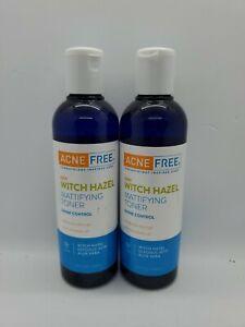 Lot of 2 ACNE FREE Witch Hazel Mattifying Toner 8.4 fl oz Shine Control