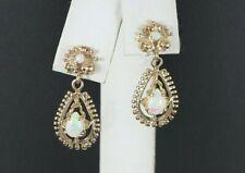 14K Solid Yellow Gold Pear Round Opalite Butterfly Back Dangle Drop Earrings