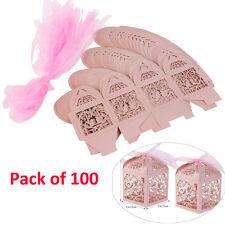 100pcs Cutout Love Heart Bird Wedding Party Favor Ribbon Gift Box Candy Boxes US