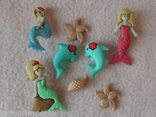 Vestirla Botones ~ Splish Splash ~ Sirenas ~ Delfines ~ Estrella De Mar ~ Shell
