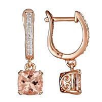 Sterling Silver/Rose Gold Plated 2.52 cttw Morganite 1/10 cttw Diamond Earrings