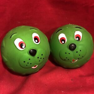 "2 Dog Toy 2.5"" Squeaky Ball Latex Funny Face Tougher Long Lasting Than Vinyl"