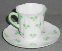 SHELLEY Fine Bone China SHAMROCK PATTERN Cup and Saucer MADE IN ENGLAND