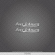 07346 Iver Johnson Bicyclette Autocollants-Decals-Transferts-Blanc/Noir