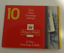 BOOK OF 10 1st FIRST CLASS GREETINGS STAMPS + LABELS - TRICKETT & WEBB