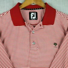 FOOTJOY ProDry Large Mens Golf Casual Polo Shirt Red White Stretch Short Sleeve