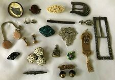 Victorian Jewelry Lot Guilloche Celluloid Enamel Rhinestone Pins Watch Fob +