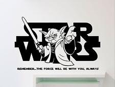 Star Wars Logo Wall Decal Yoda Quote Vinyl Sticker Nursery Art Decor Mural 14sw