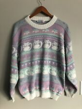 Vintage 80's M/L Rose Fairy Kei Pastel Kitty Cat Silver Metallic Knit Sweater