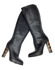 FENDI Black Leather Color-Block High Stacked-Leather Heels Knee-Hi Boots Sz39